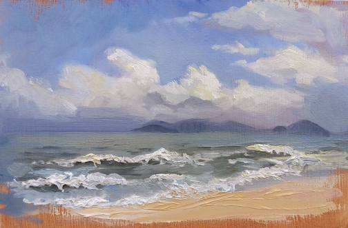 """Da Nang Beach, Vietnam"" - Oil on Panel, 2015"