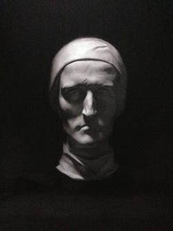 """Dante"" - White chalk and charcoal on toned paper"