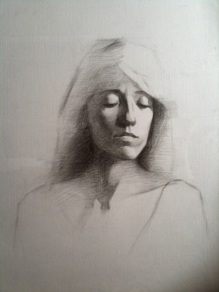 """Olimpia"" - Charcoal on white paper"
