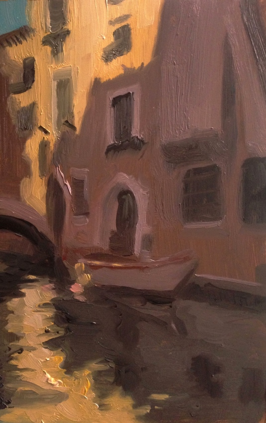 """""""Venice Canal study"""" - Oil on Panel"""
