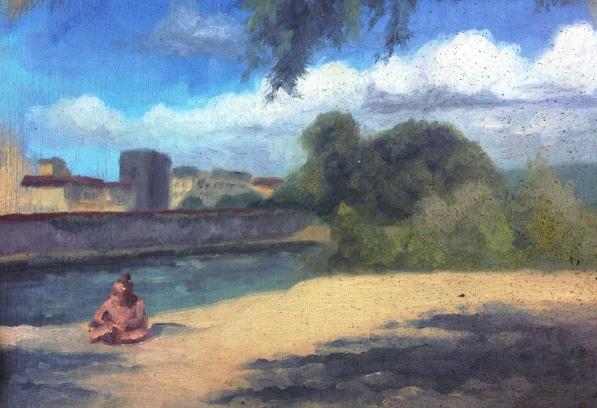 """""""Beach study II"""" - Oil on panel"""