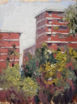 """Flats in Singapore"" - Oil on panel, 2015"
